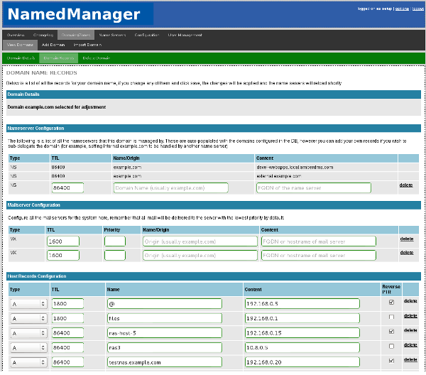 Configuring zone records with NamedManager.