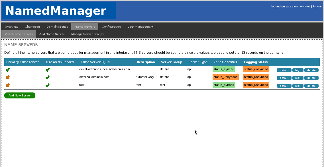 Server status report - see if your hosts have synced DNS changes and are reporting logs.