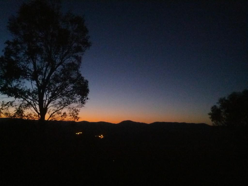 Sun setting along the ridge.