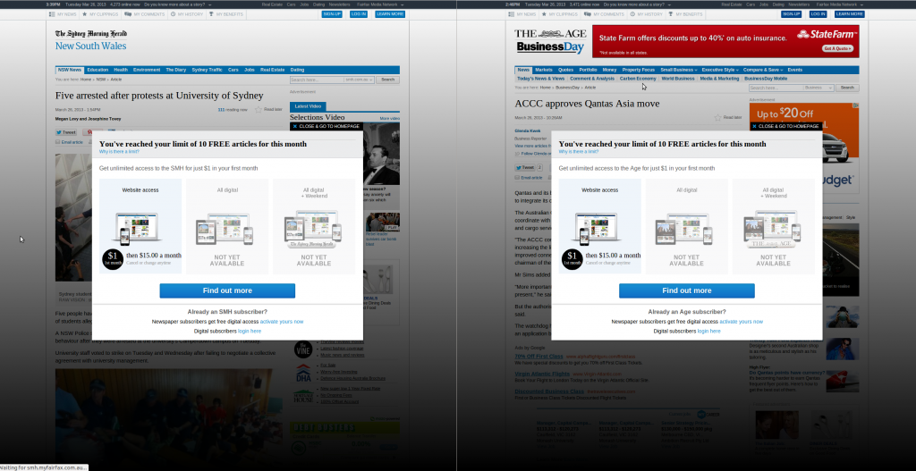 Paywalls on SMH and The Age, as seen for select international countries.